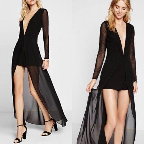 New 6 Express Sz Romper Dress Maxi Black w87qrzYw