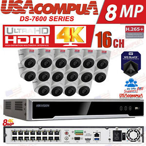Details about Hikvision NVR 16 Channel Security System / HDD Included / POE  Turret 4MP H,265+