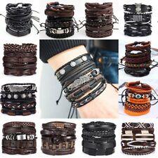 6pcs/set Multilayer Leather Bracelet Handmade Men Women Wristband Bangle Gifts