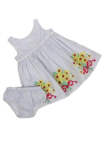 John Lewis Baby Girls Blue//white 2 piece dress Floral Bow Print 3-24 months SALE