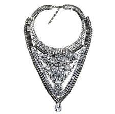 Fashion Charm Chunky Crystal Statement Bib Chain Choker Pendant Jewelry Necklace