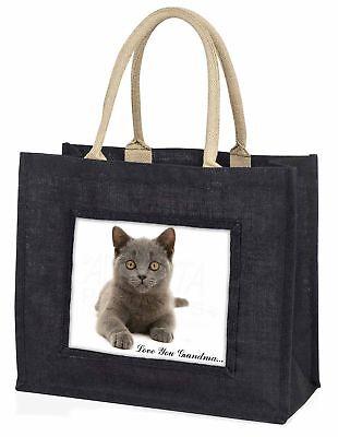 Britische blaue Katze ' liebe Dich Oma' große schwarze Einkaufstasche