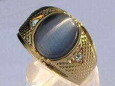 12X10 mm Tiger Eye Gray Semi-Precious Oval Cut Gold Plated Men Ring Size 9
