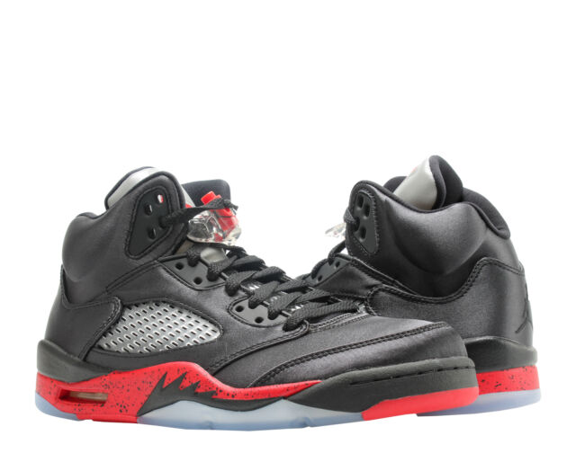 huge selection of 1d2d7 e1f7d Nike Air Jordan 5 Retro Satin Black Red Mens Basketball Shoes 136027-006