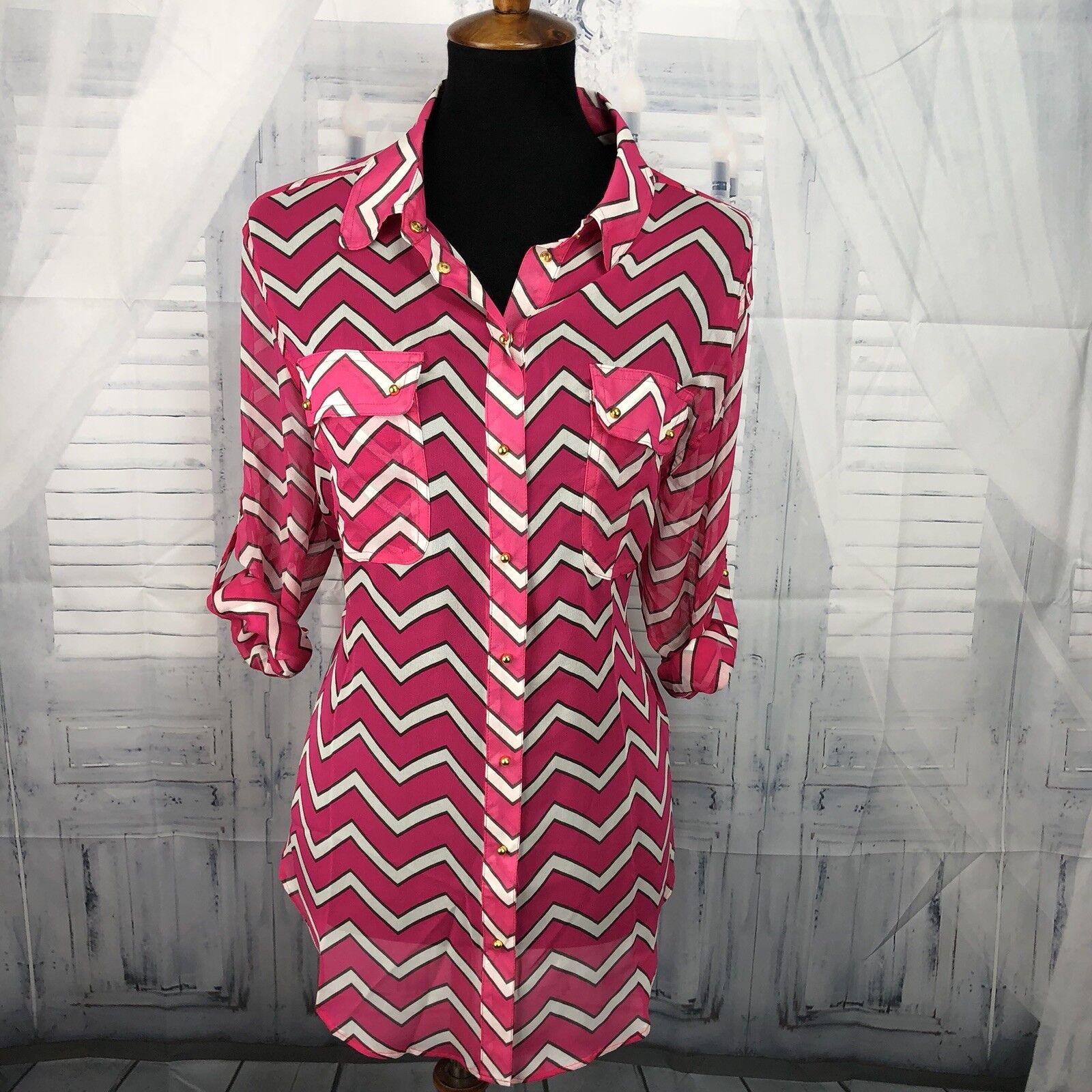 Charlie by Matthew Zink MZ damen Blouse Top Shirt 100% Silk Print Rosa Sz Large