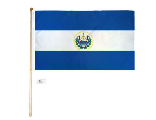 5/' Wood Flag Pole Kit Wall Mount Bracket With 3x5 El Salvador Country Poly Flag