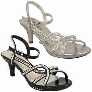 48a5f3db6c90 Girls Mid Heel Sandals Kids Diamante Ankle Strap Open Toe Party ...