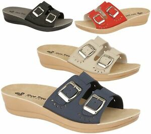 Womens-Mule-Ladies-Slippers-Light-Weight-Twin-Buckle-sandals-Casual-Summer-Shoes