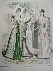 7/ Gravure De Mode 1890 Grand Format 36x26 Ni Trop Dur Ni Trop Mou