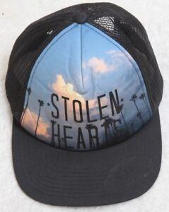 Volcom Stolen Hearts Hat Polyester Cotton Snap Back Adjustable Black ... 7244b17256c1