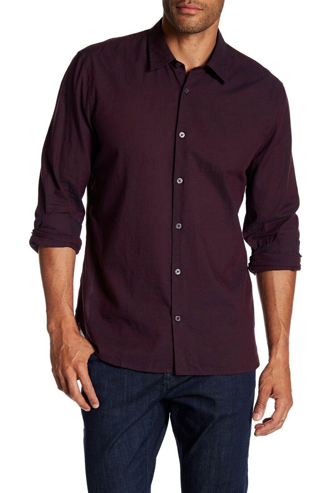 John Varvatos Star USA Men's Garnet Red Mayfield Slim Fit Long Sleeve Shirt