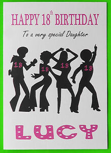 Das Bild Wird Geladen PERSONALISED 18th Birthday Card Disco GIRL FEMALE DAUGHTER