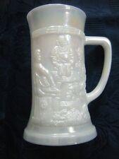 White Opalescent Beer Stein Mug Tavern Scene Federal Glass