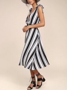 New-Girls-Ivory-Blue-Black-Grey-Striped-Midi-Spring-Summer-Dress-size-M-10