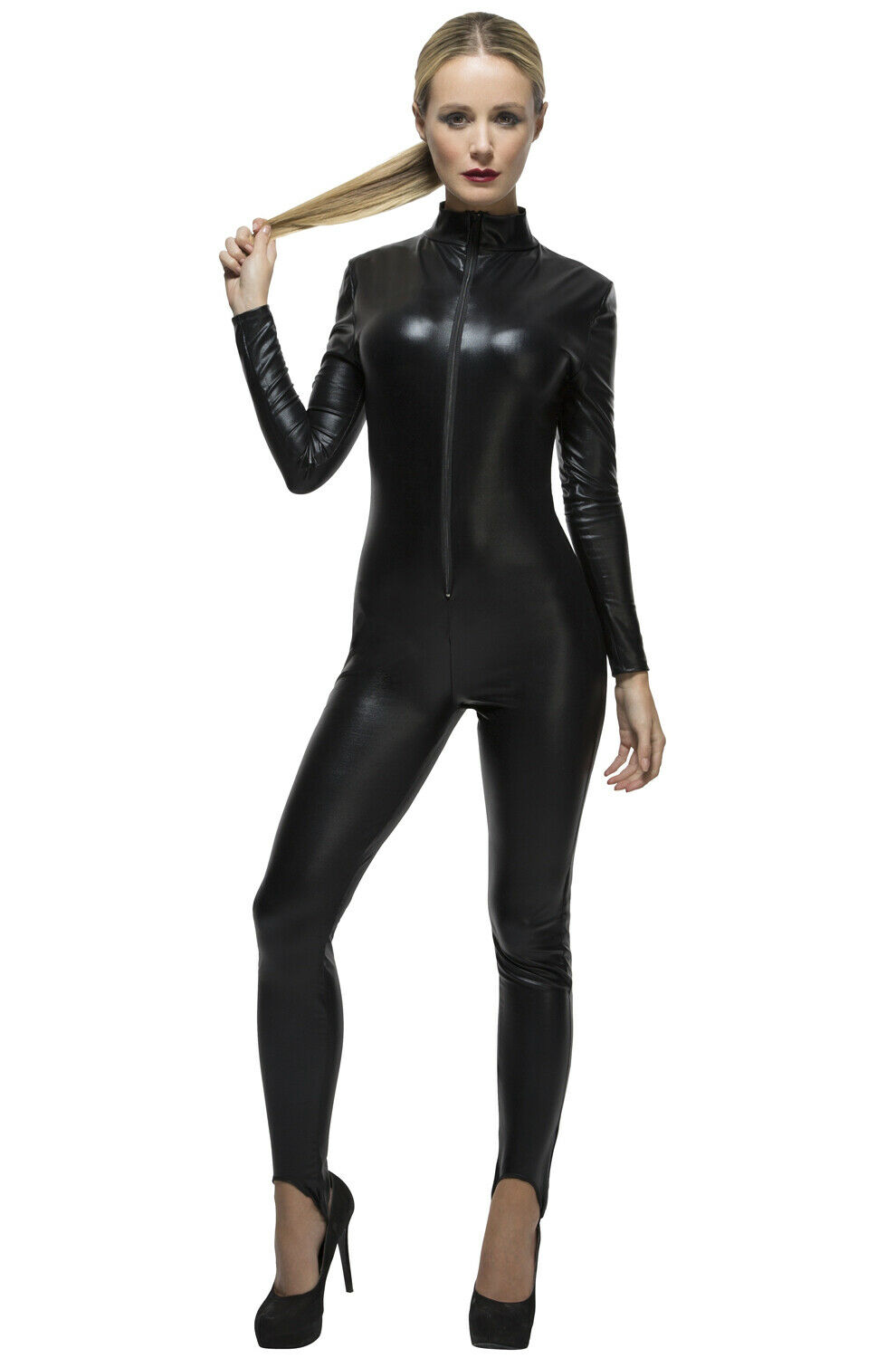 Brand New Fever Miss Whiplash Catwoman Inspired Catsuit Adult Costume (Black)