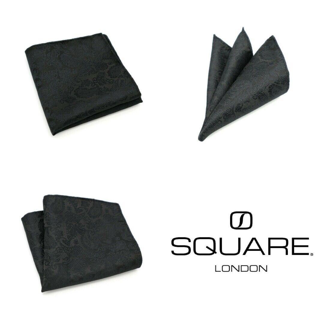 Mens Black Paisley Jacquard Silk Pocket Square Handkerchief by SQUARE London