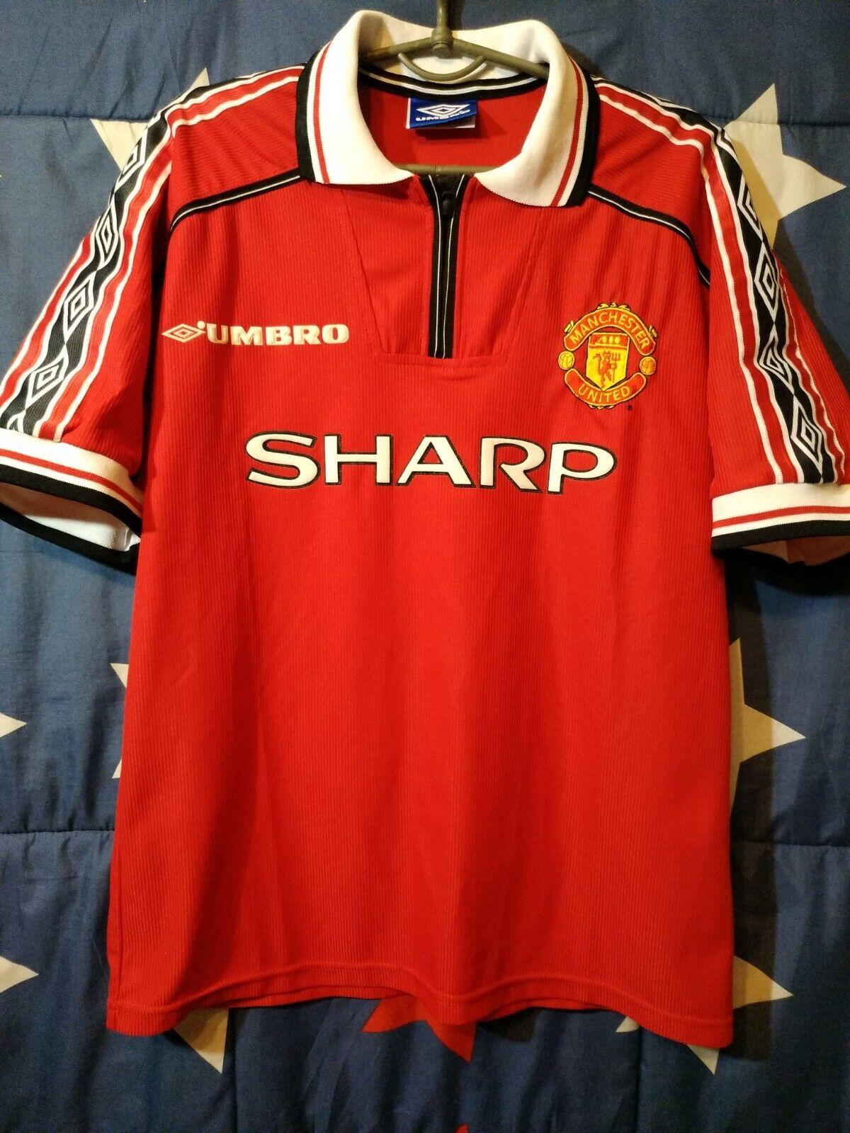 Größe M Manchester United England 1998-2000 Home Football Shirt Jersey