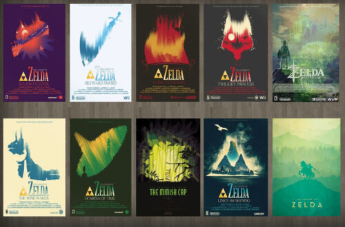 30 in x 20 in The legend of Zelda Classic FAST SHIPPING 10 Poster Set