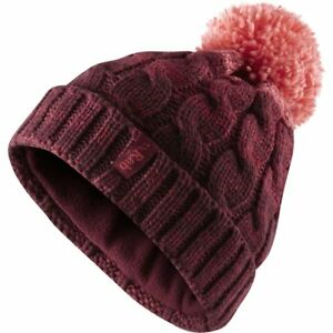 e3bfe08cf Details about RAB WOMENS BRAID BOBBLE CHUNKY KNIT BEANIE HAT MAPLE  MICROFLEECE LINING 1958