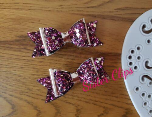 "Handmade set of 2 cranberry /& rose gold glitter Hair Bow Clips 2.5/"""