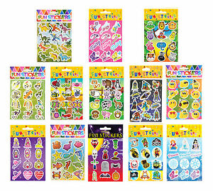 Kids Birthday Party Themed Sticker Sheets Loot Bag Fillers Prizes Crafts Books