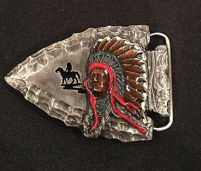 Western Indian American Native Dancing Belt Buckle Big Superb Details