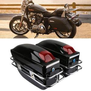 Universal-Noir-24L-Moto-Boite-Sac-Valise-Sacoche-Laterale-coffre-cas-Pour-Harley