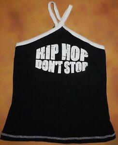 Halter-Black-Hip-Hop-Don-039-t-Stop-Dance-Top-Rhinestone-Med-Child-Pure-Design-NWOT