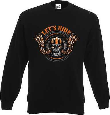 2019 Ultimo Disegno Sweat Shirt In Nero Biker-, Chopper - & Old Schoolmotiv Modello Lets Ride--&old Schoolmotiv Modell Lets Ride It-it