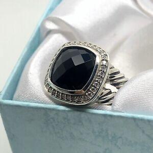 David-Yurman-925-Sterling-Silver-Albion-Ring-11mm-Black-Onyx-amp-Diamonds-Sz-7