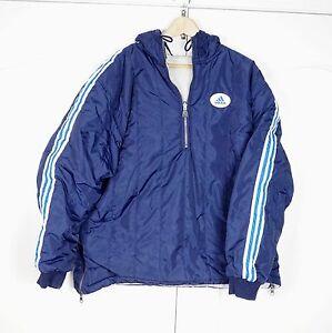 Details about Vintage Adidas 90s reversible Jacket Size L Navy Blue Pullover Windbreaker