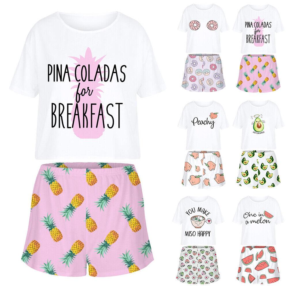 Damen Kurzarm T-Shirt Tops + Shorts Loungewear Outfits Set Sommer Schlafanzug