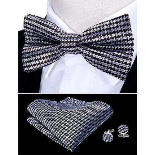 USA Grey Houndstooth Tie Bowtie Set Silk Mens Adjustable Tuxedo Pre-tied Wedding
