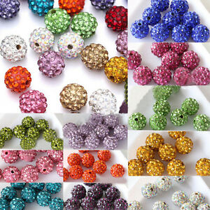10-50Pcs-Czech-Crystal-Rhinestones-Pave-Clay-Round-Disco-Ball-Spacer-Beads-10MM