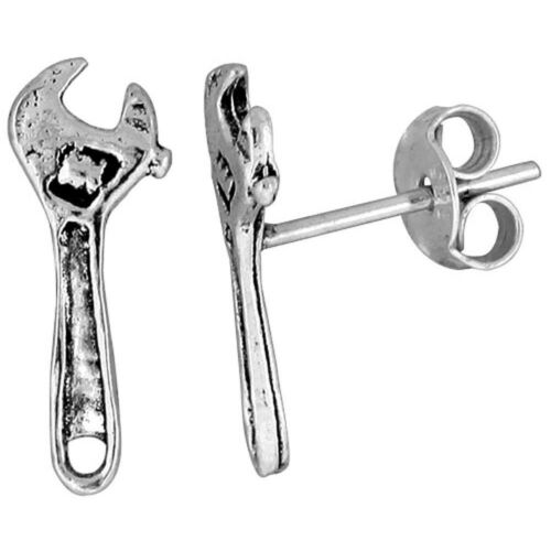 .925 Sterling Silver Small Wrench Stud Earrings 9//16 inch