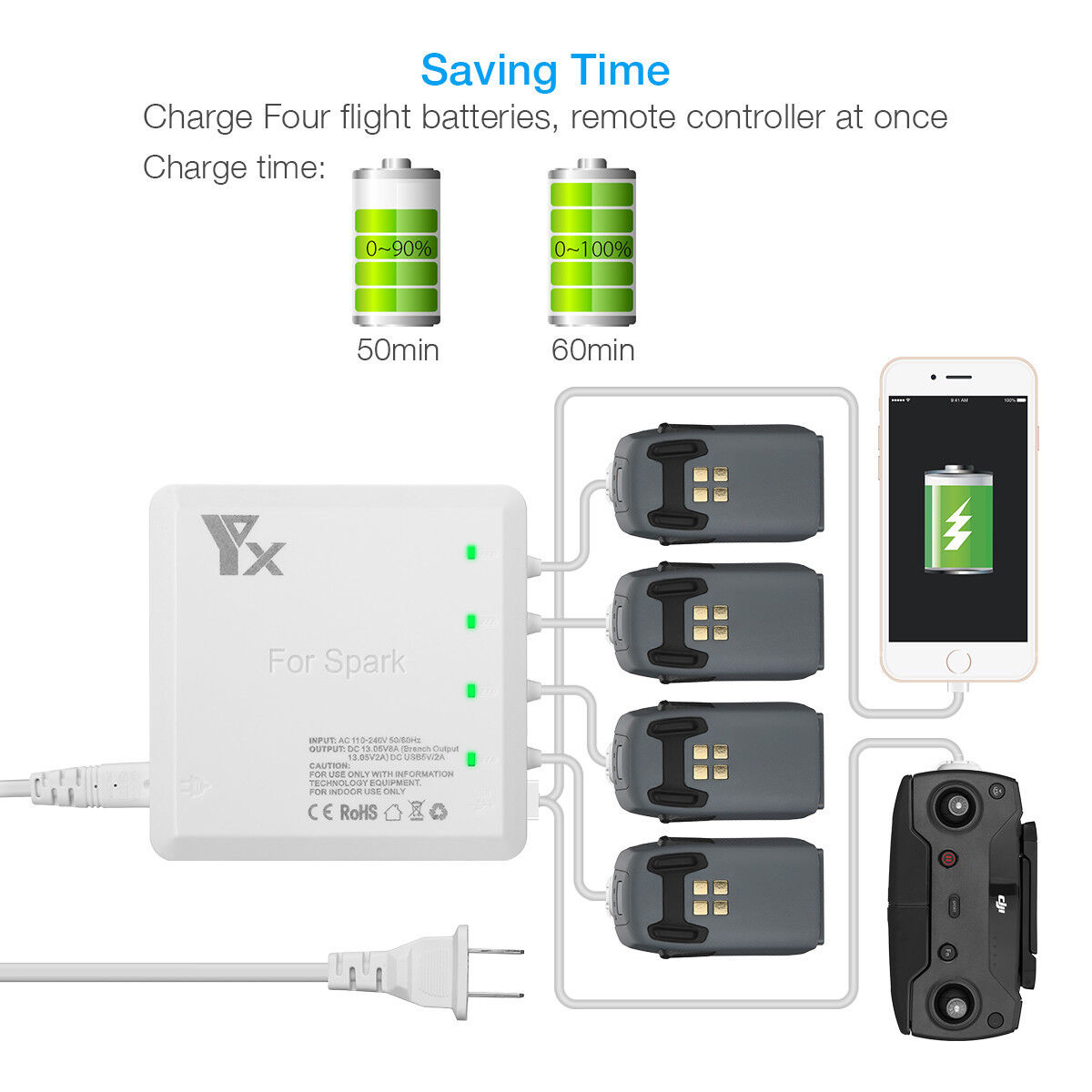 6 in 1 Rapid Intelligent Multi Batteries Charger Hub + 2 USB Ports for DJI Spark