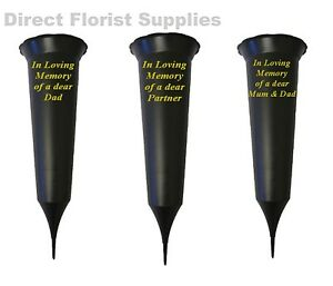 BRITISH-MADE-BLACK-MEMORIAL-GRAVE-SPIKE-FLOWER-VASE-POT-IN-LOVING-MEMORY-AP