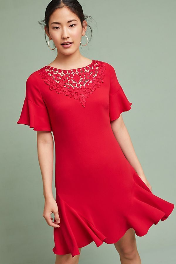 NWT ANTHROPOLOGIE SHOSHANNA RED RUBY RUFFLED-SLEEVE DRESS- SIZE 6-