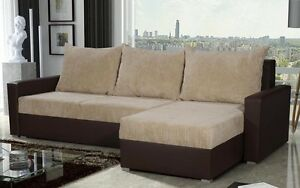 BRAND NEW CORNER SOFA BED CREAM BROWN WITH STORAGE