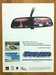 Driver-PS1-PSX-Playstation-1-1999-Vintage-Print-Ad-Poster-Art-Official-Promo-GTA