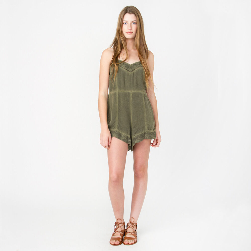 2016 NWT WOMENS ELEMENT EARLY MORNING ROMPER  50 M olive lace trim