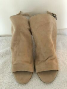 Bagatt-peep-toes-cuero-41-serraje-zapatos-de-salon-beige-tacon-alto-con-tiras-nude