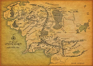 Lord-Of-The-Rings-Middle-Earth-Map-Large-Poster-various-sizes-A3-A4