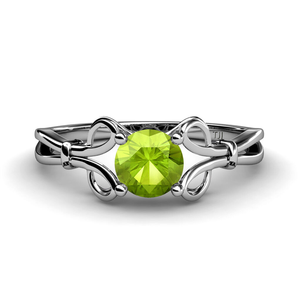 Round Peridot Floral Women Solitaire Ring 14K gold JP 34434