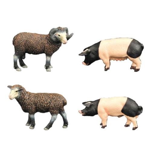 4Pcs Animals Figures Toys Sheep Pig Realistic Plastic Animals Figurines Toys