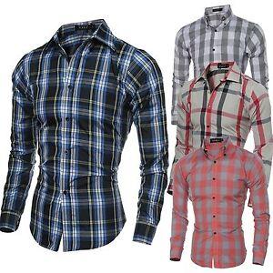 Mens-Fashion-Luxury-Casual-Slim-Fit-Stylish-Plaid-Dress-Shirts-Long-sleeve-Shirt