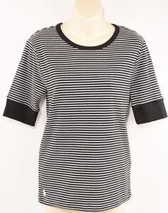 POLO-RALPH-LAUREN-Women-039-s-Black-White-Striped-T-shirt-Top-size-LARGE
