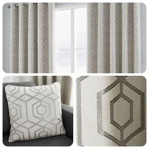 Curtina-CAMBERWELL-Silver-Geometric-Jacquard-Eyelet-Curtain-amp-Cushions