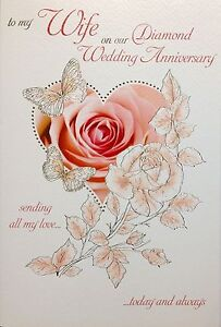 To My Wife On Our 60th Diamond Wedding Anniversary Card Verse
