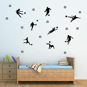 Les Joueurs De Football Pack De 7 & Boules! - Boys Wall Art Sticker Chambre Décalcomanie Citation-afficher Le Titre D'origine